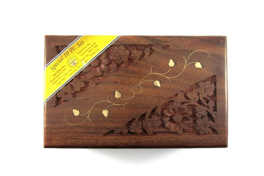 10 special tea packed in a carved wooden box